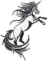 Fantasy Animals Iron on Patch - Unicorn Rearing Bucking Black & White Design Applique