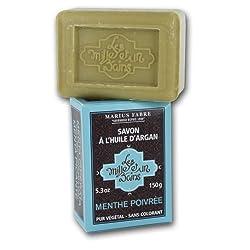 Argan Soap - Peppermint Scented - 5.3 Oz Bar - Marius Fabre - France