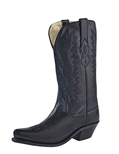 Old West Black Womens All Leather 12in Snip Toe Cowboy Western Boots 7 B by Old West