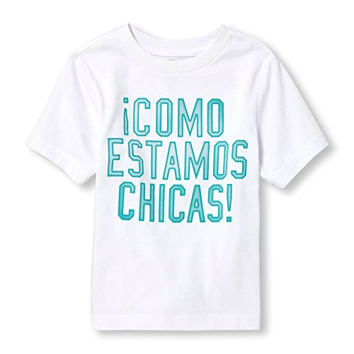 The Children's Place Baby Boys' Toddler Spanish Graphic T-Shirt, White, 4T