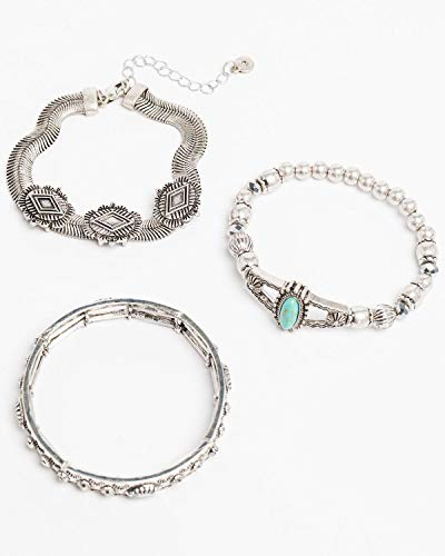 Shyanne Women's Bella Concho Turquoise Stretch 3 Pack Bracelet Set Silver One Size