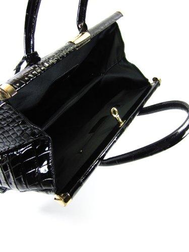 "BELLI® ""The Bag XXL"" Premium Leder Handtasche schwarz lack kroko - 38x26x18 cm (B x H x T)"