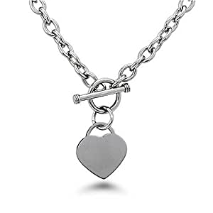 "Noureda High Polished Stainless Steel Heart Charm Cable Chain Necklace with Toggle Clasp (Length: 18"")"