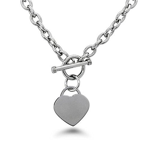 (Noureda High Polished Stainless Steel Heart Charm Cable Chain Necklace with Toggle Clasp (Length: 18