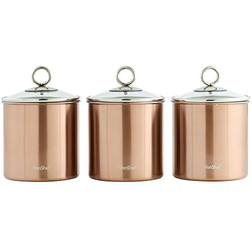 VonShef Tea Coffee And Sugar Canisters Kitchen Storage Jars With Glass Lids  Brushed Copper Stainless Steel, Set Of 3