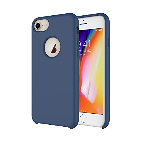 iPhone 8 Silicone Case/iPhone 7 Silicone Case/iPhone 6 Silicone Case, Soft Touch, Comfortable Grip, Slim Fit, Tiamat Liquid Silicone Case with Microfiber Cloth Lining Cushion (Indigo)