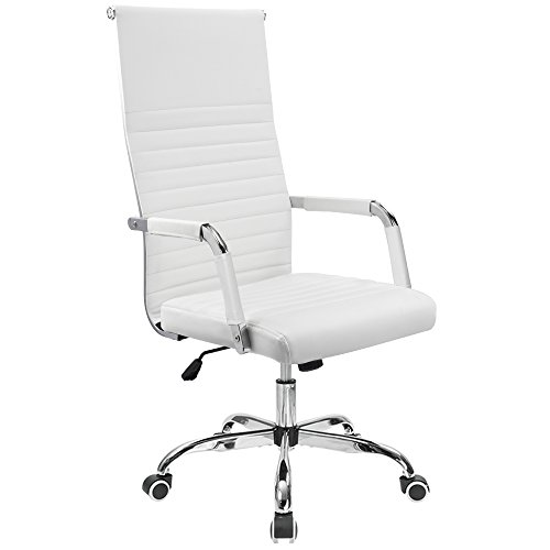 Chair High Back PU Leather Executive Conference Chair Adjustable Swivel Chair With Arms (High back, White) ()