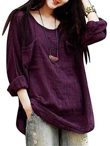 (naivety Womens Casual Loose Long Sleeve Round Neck Cotton Linen Shirt Blouse Tees)