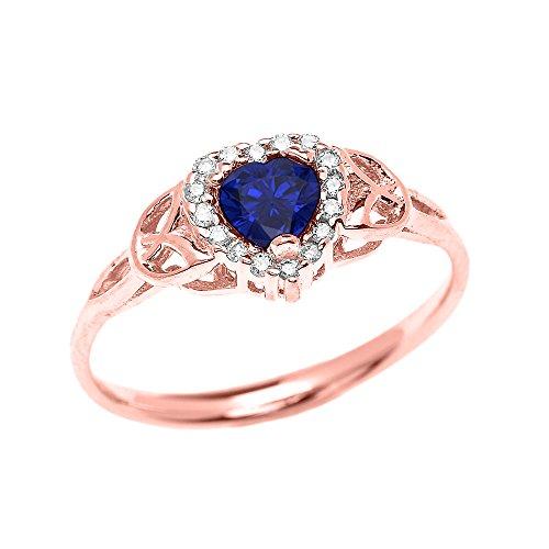 Diamond & Sapphire Heart Ring - 7