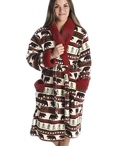 Bear Fair Isle Soft Bathrobes for Men and Women by LazyOne | Animal Pattern Plush Robes Unisex (S/M)