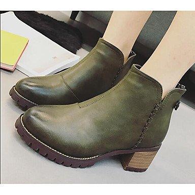 Botas de la mujer confort PU Primavera Casual Verde Color de pantalla plana negra Black