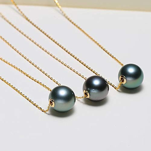 HXUJ Natural Black Pearl Necklace, 18k Gold Chain Necklace, Tahitian Pearl Jewelry for Women, Real Pearl Jewelry fine Gift