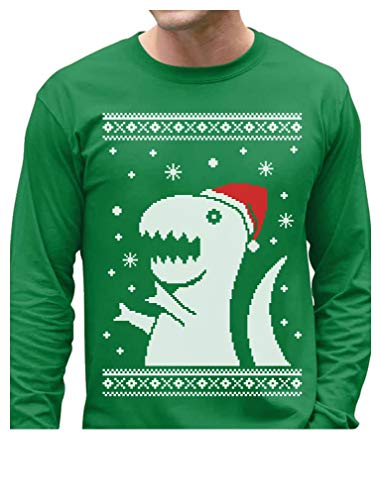 Big T-Rex Santa Ugly Christmas Sweater Design - Funny Xmas Long Sleeve T-Shirt X-Large Green