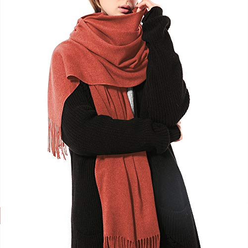 (Womens Thick Soft Cashmere Wool Pashmina Shawl Wrap Scarf - Aone Warm Stole(Maple Leaf))