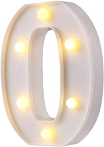 LED Marquee Letter Lights, 26 Alphabet Light Up Letters Sign Perfect for Night Light Wedding Birthday Party Home Bar Decoration Christmas Lamp(White,O)
