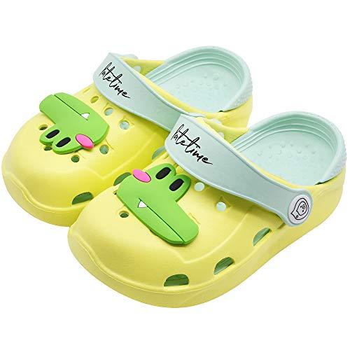 Kids Boys Girls Classic Clogs Cute Cartoon Lightweight Sandals Summer Slide Beach Water Shoes Shower Pool Slippers (Toddler/Little Kids) (7-7.5 M US Toddler, Yellow Frog)