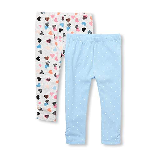 (The Children's Place Baby Girls 2 Pack Legging Set, Heather/T Lunar 2347, 0-3MONTHS)