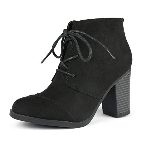 TOETOS Women's Chicago-05 Black Suede Leather Chunky Heel Ankle Boots Size 9.5 M US ()
