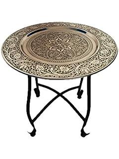 Marokkanischer Tisch Beistelltisch Aus Metall Sule ø 40cm Rund |  Orientalischer Runder Teetisch Klein Mit Klappbaren