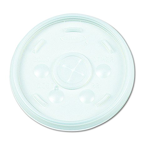 Dart 32SL Plastic Lids, Straw Slot, Fits 32oz Hot/Cold Foam Cups, White (Case of 500) ()