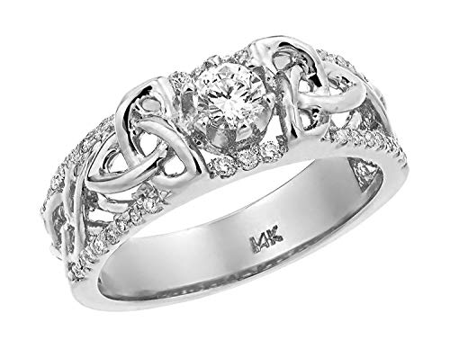 Celtic Gold Bridal White Band (14k Gold Celtic Trinity Elegance Diamond Wedding Ring (9.25, White-gold))