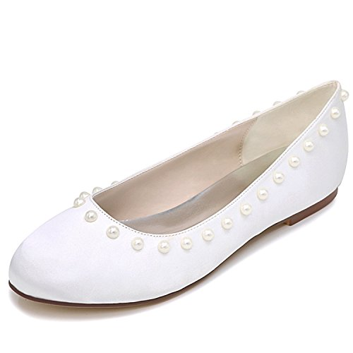 Satinado 1cm Tobillo Perlas Prom Noche White Boda De Mujeres Plano Zapatos Las TalóN Moderno De Elobaby EstáNdar 6xSTqwnpzW