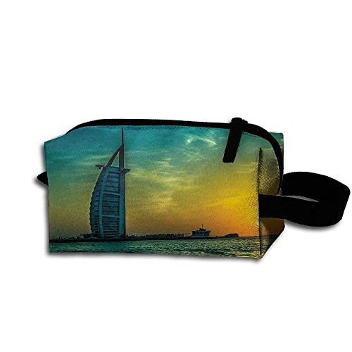 Sunset Pinecones - Makeup Cosmetic Bag Amazing Sunset View Of Dubai Medicine Bag Zip Travel Portable Storage Pouch For Mens Womens