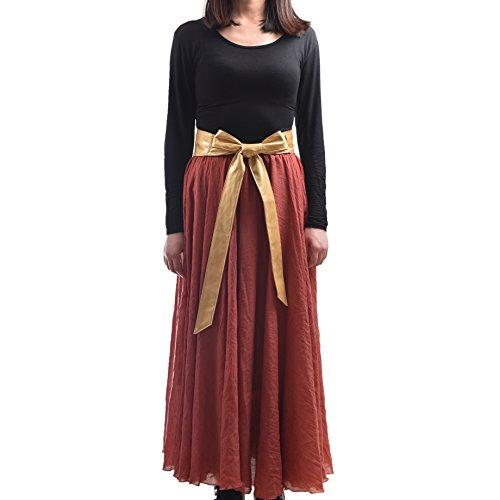 Cityelf Women's PU Leather Solid Bowknot Wide Waist Band Belt (gold)