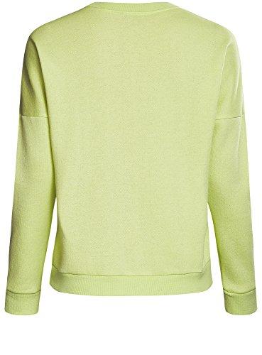 oodji Ultra Mujer Suéter con Escote Barco y Estampado Verde (6B41P)