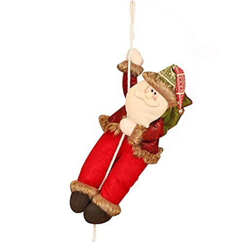 Chnaivy Climbing Santa Claus with Rope Christmas Decoration Indoor Outdoor Hanging Ornament Wall Window Hanging Pendent Ornament Present Lovely Gift Toy (23 ''/ Large)