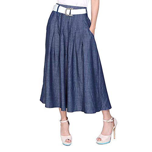 - Kaachli Women's Cotton Thin Blue Denim Midi Calf Pocket Fall Skirt with Belt (S, Blue)