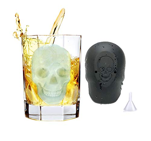 ProExtend 3D Huge Skull Candy Silicone Molds Ice Cube Trays with Funnel for Halloween Party Decor Grade Silicone BPA Free