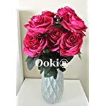 Ooki Burgundy Artificial Rose Flower 2 Bundle Total 20 Heads Arrangement Silk Bouquet Home Office Parties Wedding Decoration