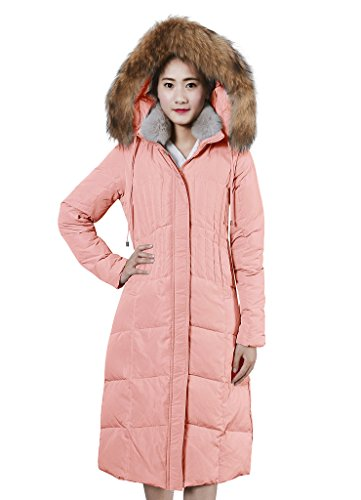 XIAOLV88 Women's Hooded Warm Real Fur Collar Duck Long Down Coat Jacket Pink