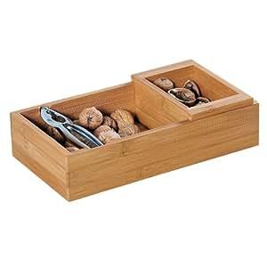 Kesper 62820 - Recipiente para nueces con cascanueces, madera de bambú