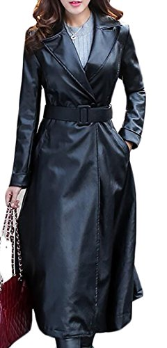 Long Black Leather Coat - 9