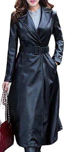 Long Black Ladies Leather Coat - 3