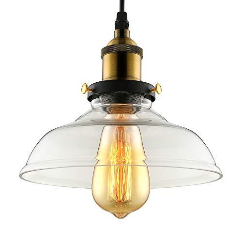 BAYCHEER Industrial Edison Vintage Style Pendant Glass Hanging Light Modern Ceiling Lighting Antique Pendant Lights with 1 Light