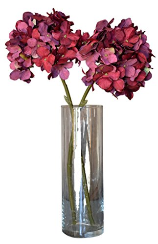 Burgundy Red Faux Silk Hydrangea Spray Pick Bouquet - Dark Red Flower Petals Bush, 18 Inches