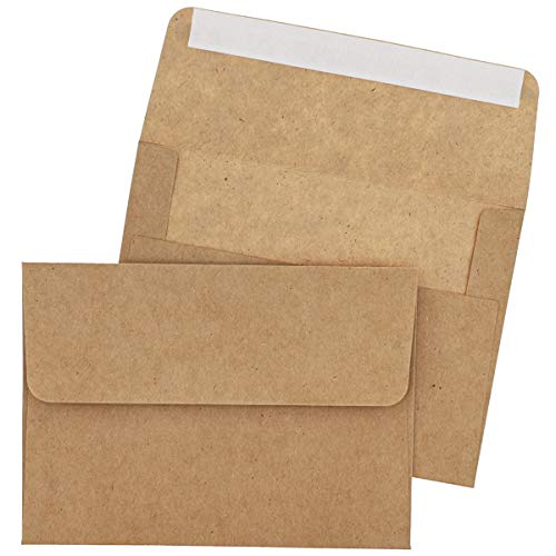 Tan Envelopes - Juvale 100-Pack Self Seal A7 Kraft Envelopes for 5 x 7 Cards, Invitations, and Photos