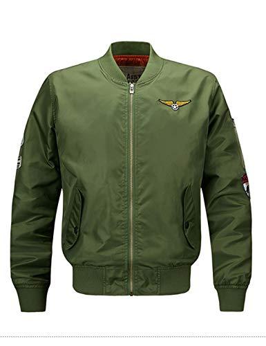 Yeokou Mens Casual Stand Collar Short Zipper Flight Pilot Aviator Bomber Jacket