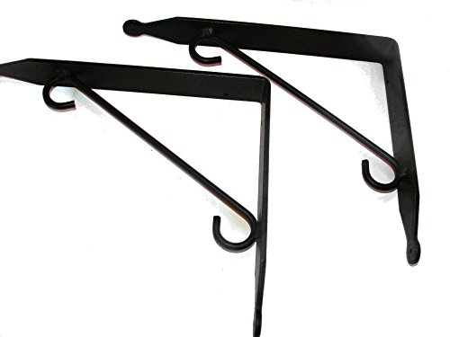 Shelf Brackets (Pr.) Large - Hand Made Wrought Iron (Eagle Shelf Metal)