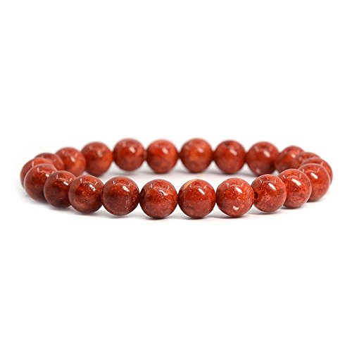 Red Spong Coral Gemstone 8mm Round Beads Stretch Bracelet 7