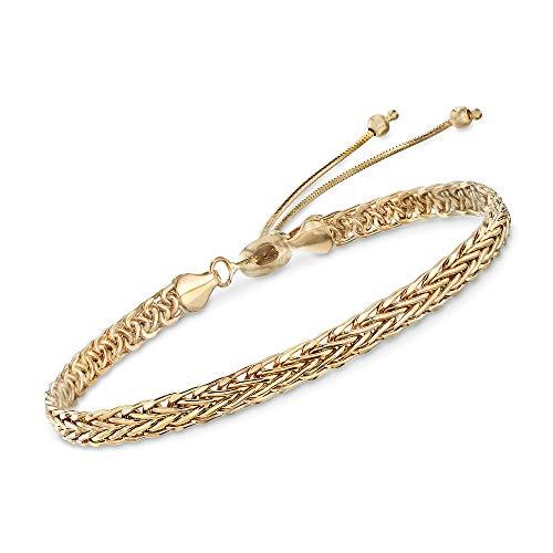 Ross-Simons 14kt Yellow Gold Wheat Chain Bolo Bracelet ()