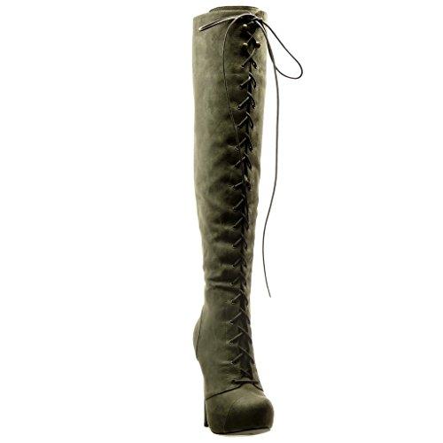 Angkorly - Scarpe da Moda Stivali - Scarponi Stivali Alti stiletto sexy donna lacci Tacco Stiletto tacco alto 13.5 CM - Grigio