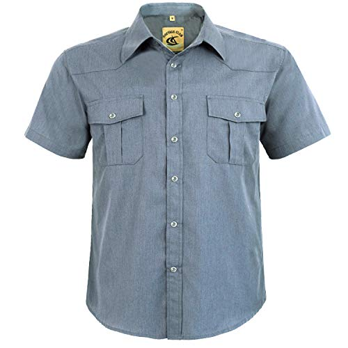 Coevals Club Men's Snap Button Down Solid Short Sleeve Work Casual Shirt (Light Gray #2, 3XL) - And Big Tall Men Shirts