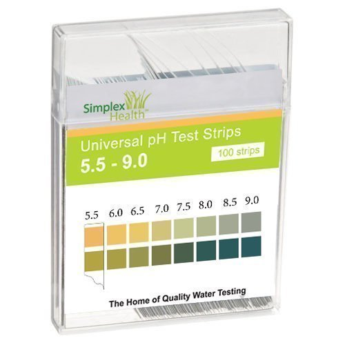 Simplex Health Water pH Test Strips 5.5 - 9.0 Range & Two Pad Universal for Acid Alkaline Water Testing (100 Strips) ph-005