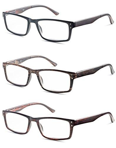 Rectangular Mens Reading Glasses - Set of 3 - Black, Brown, Burgendy, - Value Pack - - For Glasses Reading Teens