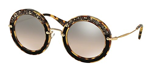 Miu Miu Women's Round Crystal Sunglasses, Light Havana/Brown, One Size