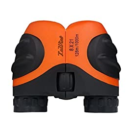 Luwint 8 X 21 Orange Kids Binoculars for Bird Watching, Watching Wildlife or Scenery, Game, Mini Compact and Image Stabilized, Best Gifts for Children